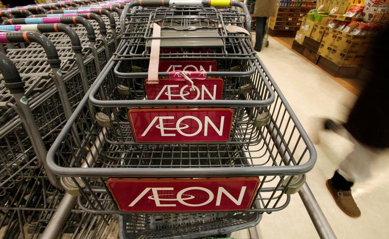 FILE PHOTO: The logo of Aeon Co is seen on shopping carts at its supermarket in Tokyo January 10, 2013.  REUTERS/Toru Hanai/File Photo