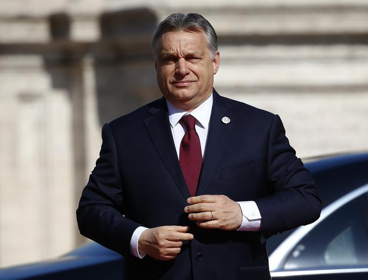 Hungary's Prime Minister Viktor Orban arrives at the city hall ''Campidoglio'' (Capitoline Hill) as EU leaders arrive for a meeting on the 60th anniversary of the Treaty of Rome, in Rome, Italy March 25, 2017. REUTERS/Tony Gentile/Files
