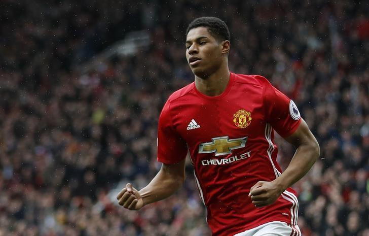 Britain Soccer Football - Manchester United v Chelsea - Premier League - Old Trafford - 16/4/17 Manchester United's Marcus Rashford celebrates scoring their first goal  Action Images via Reuters / Carl Recine Livepic