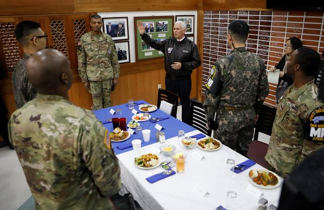 U.S. Vice President Mike Pence speaks during a meeting with U.S. and South Korean soldiers at Camp Bonifas near the truce village of Panmunjom, in Paju, South Korea, April 17, 2017.  REUTERS/Kim Hong-Ji