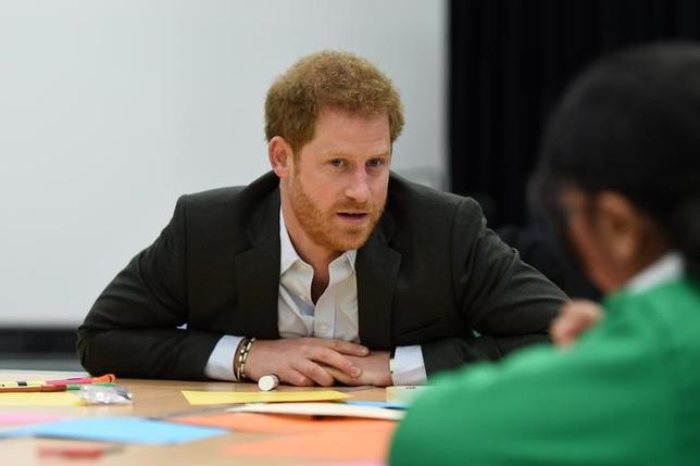 Britain's Prince Harry visits the Yes You Can personal development project at Hamilton Community College in Leicester March 21, 2017. REUTERS/Joe Giddens/Pool/Files