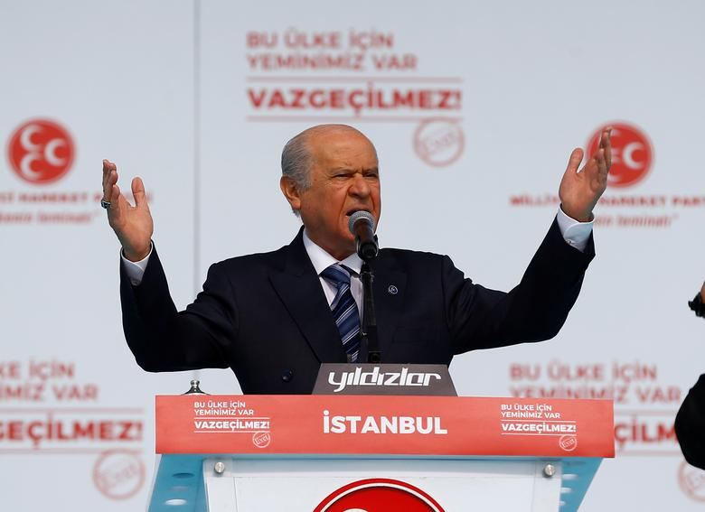 FILE PHOTO: Nationalist Movement Party (MHP) leader Devlet Bahceli addresses his supporters during a rally for the upcoming referendum, in Istanbul, Turkey, April 9, 2017. REUTERS/Osman Orsal