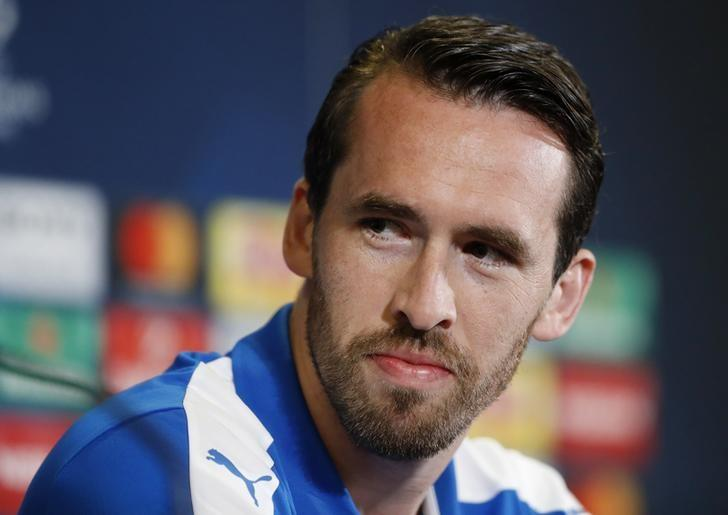 Britain Football Soccer - Leicester City Press Conference - King Power Stadium, Leicester, England - 17/4/17 Leicester City's Christian Fuchs during the press conference Action Images via Reuters / Carl Recine Livepic
