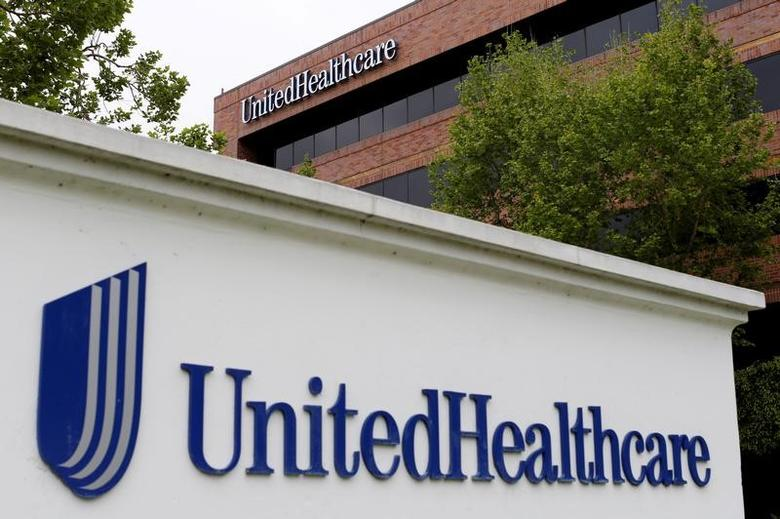 FILE PHOTO - The logo of Down Jones Industrial Average stock market index listed company UnitedHealthcare is shown in Cypress, California April 13, 2016.  REUTERS/Mike Blake/File Photo