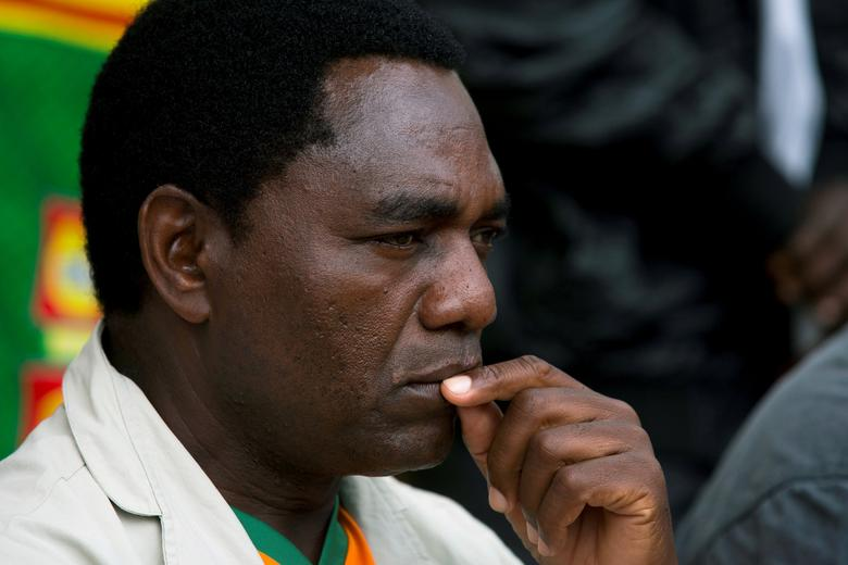 FILE PHOTO: United Party for National Development (UPND) Presidential candidate Hakainde Hichilema looks on during an election rally in Lusaka January 18, 2015.  REUTERS/Rogan Ward/File Photo