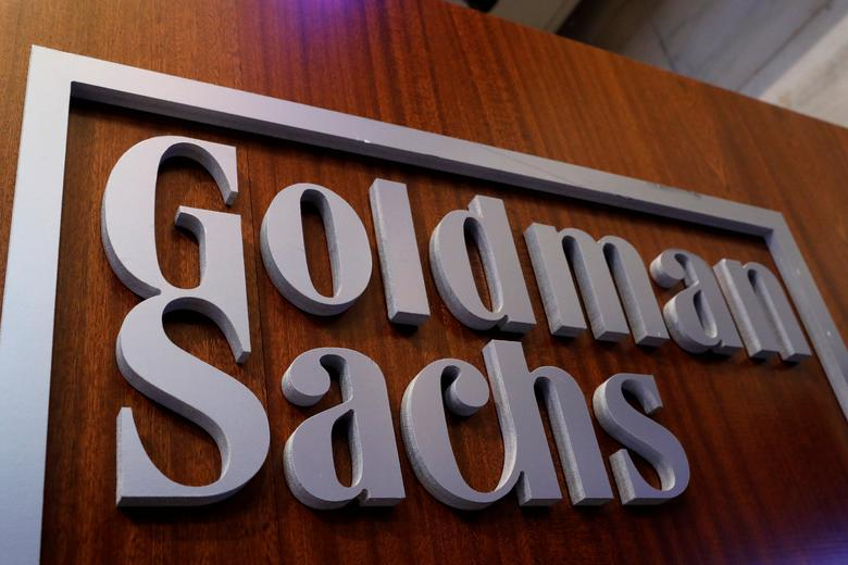 A Goldman Sachs sign is displayed inside the company's post on the floor of the New York Stock Exchange (NYSE) in New York, U.S., April 18, 2017. REUTERS/Brendan McDermid