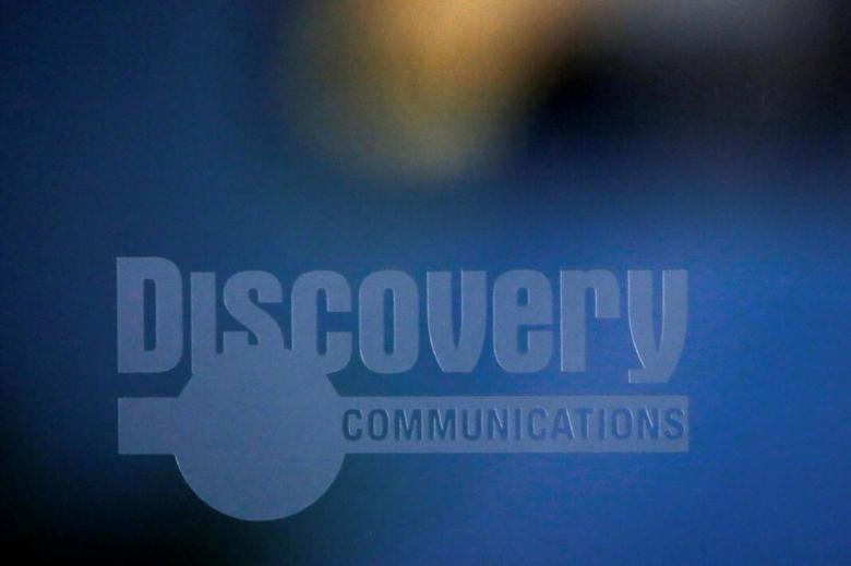 FILE PHOTO -  The Discovery Communications logo is seen at their office in Manhattan, New York, U.S., August 1, 2016.  REUTERS/Andrew Kelly/File Photo