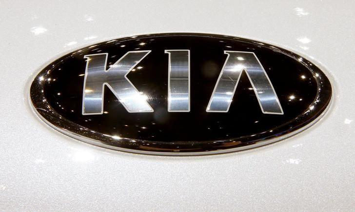 The logo of Kia is seen during the 87th International Motor Show at Palexpo in Geneva, Switzerland March 8, 2017. REUTERS/Arnd Wiegmann/Files