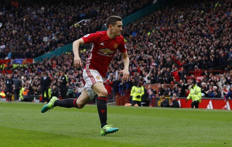 Britain Soccer Football - Manchester United v Chelsea - Premier League - Old Trafford - 16/4/17 Manchester United's Ander Herrera celebrates scoring their second goal  Reuters / Phil Noble Livepic
