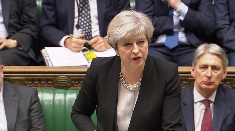 A still image from a video footage shows Britain's Prime Minister Theresa May addressing the House of Commons in central London April 19, 2017.  Parbul TV/Handout via Reuters TV