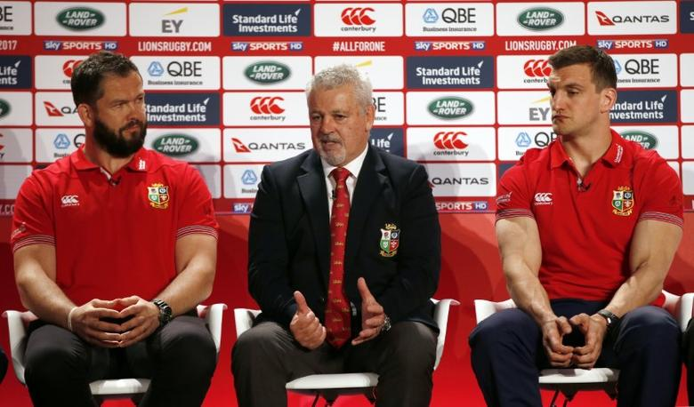 Britain Rugby Union - British & Irish Lions squad announcement for the 2017 tour to New Zealand - Hilton London Syon Park - 19/4/17 British & Irish Lions head coach Warren Gatland with defence coach Andy Farrell and captain Sam Warburton during the squad announcement Action Images via Reuters / Paul Childs Livepic