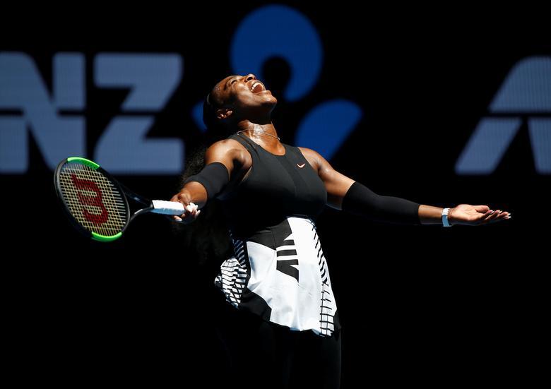FILE PHOTO: Tennis - Australian Open - Melbourne Park, Melbourne, Australia - 25/1/17 Serena Williams of the U.S. reacts during her Women's singles quarter-final match against Britain's Johanna Konta. REUTERS/Issei Kato/File Photo