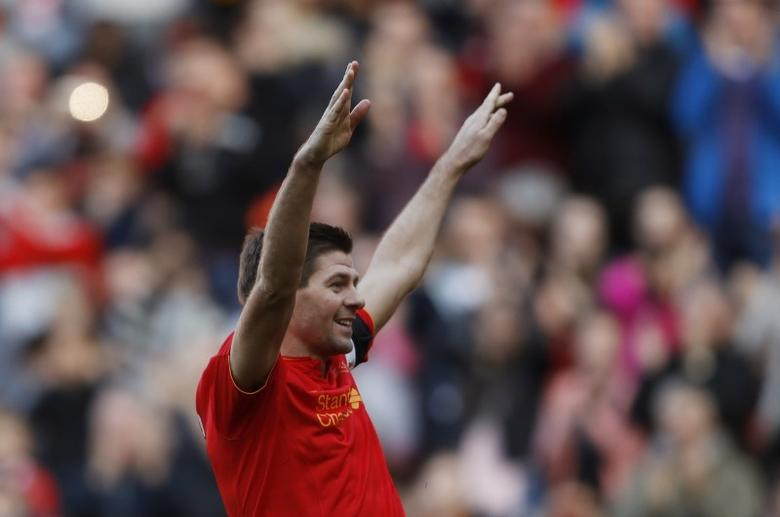 Britain Football Soccer - Liverpool Legends v Real Madrid Legends - Anfield - 25/3/17 Liverpool's Steven Gerrard celebrates scoring their fourth goal  Action Images via Reuters / Carl Recine Livepic