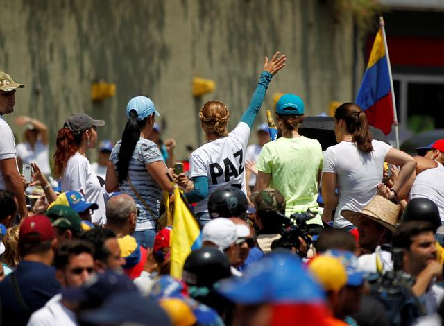 Lilian Tintori, wife of jailed opposition leader Leopoldo Lopez, addresses supporters during a rally against Venezuela's President Nicolas Maduro in Caracas, Venezuela, April 20, 2017. REUTERS/Christian Veron