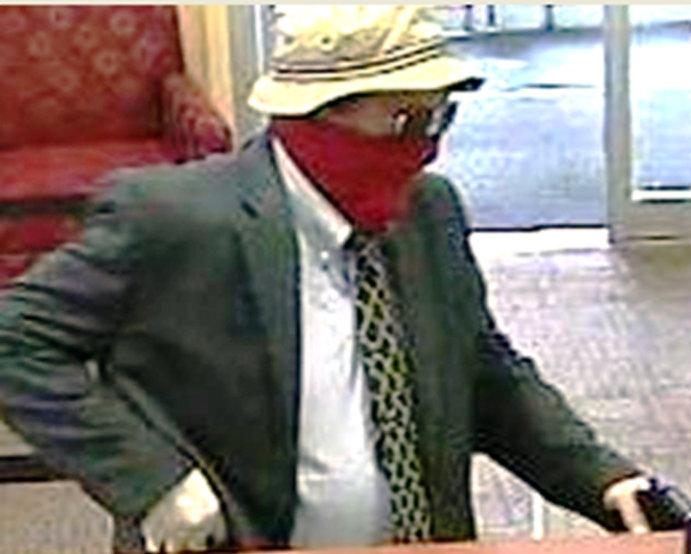 A man the FBI identified as Richard Boyle, of Doylestown, Pennsylvania, known as the ''Straw Hat Bandit,'' is pictured in this undated handout still image from video.   FBI/Handout via REUTERS