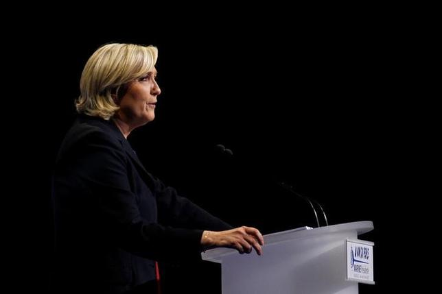 Marine Le Pen, French National Front (FN) political party leader and candidate for French 2017 presidential election, sepaks during a campaign rally in Marseille, France, April 19, 2017. REUTERS/Philippe Laurenson/Files