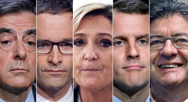 FILE PHOTO: A combination picture shows five candidates for the French 2017 presidential election, from L-R, Francois Fillon, the Republicans political party candidate, Benoit Hamon, French Socialist party candidate, Marine Le Pen, French National Front (FN) political party leader, Emmanuel Macron, head of the political movement En Marche ! (Onwards !), Jean-Luc Melenchon, candidate of the French far-left Parti de Gauche, in Paris, France.  REUTERS/Charles Platiau/File Photo