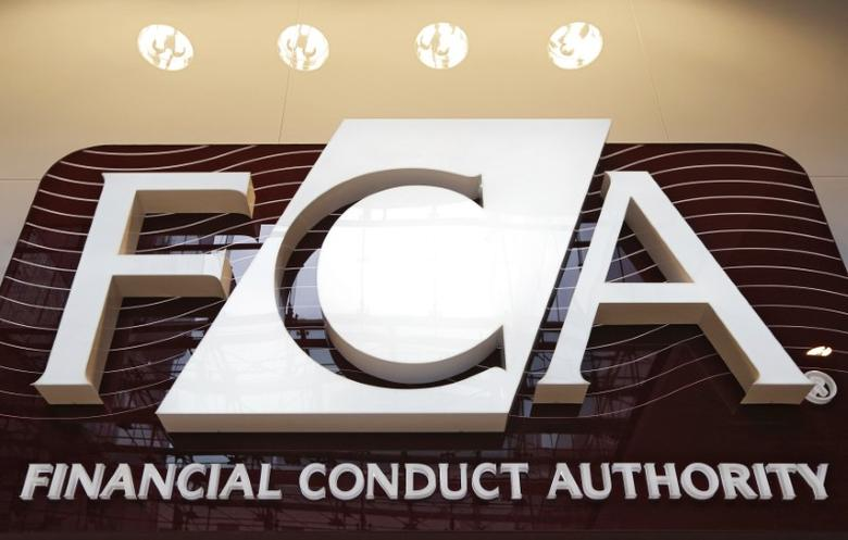 FILE PHOTO: The logo of the new Financial Conduct Authority (FCA) is seen at the agency's headquarters in the Canary Wharf business district of London April 1, 2013. REUTERS/Chris Helgren