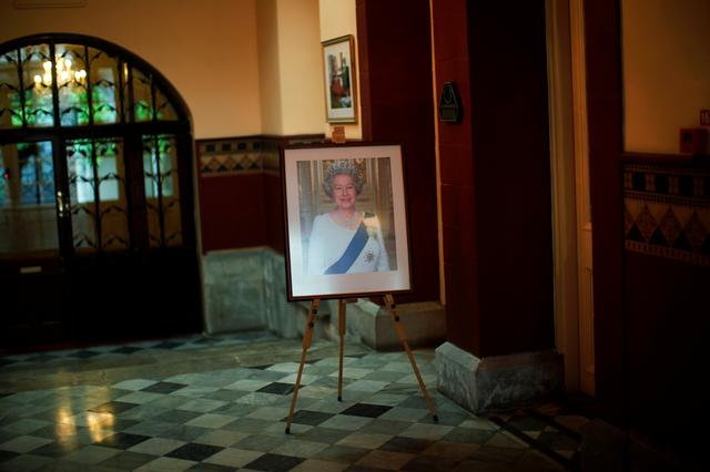 A picture of Queen Elizabeth II is seen at Convent Palace during her 91st birthday, in the British overseas territory of Gibraltar, historically claimed by Spain, April 21, 2017. REUTERS/Jon Nazca