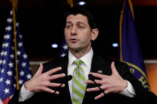FILE PHOTO: U.S. House Speaker Paul Ryan (R-WI) speaks during his news conference after Republicans pulled the American Health Care Act bill to repeal and replace the Affordable Care Act act known as Obamacare, prior to a vote on Capitol Hill in Washington, U.S. March 24, 2017.REUTERS/Yuri Gripas/File Photo