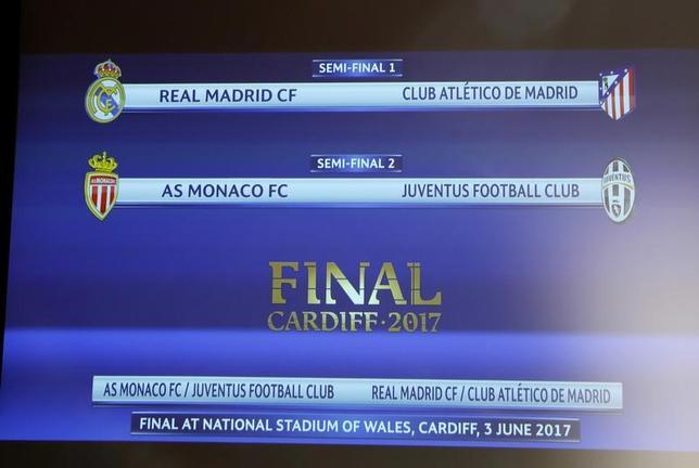 4月21日、サッカーの欧州CL準決勝の組み合わせ抽選が行われ、レアル・マドリードはアトレチコ・マドリードと対戦することが決まった(2017年 ロイター)