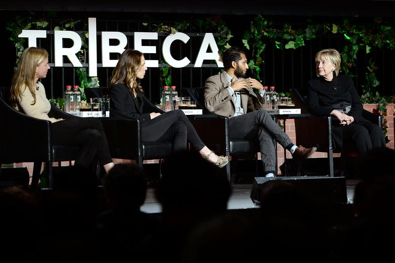 Andrea Heydlauf (L-R), Chief Marketing Officer for African Parks, Rachel Webber, National Geographic Partners' Executive Vice President of Digital Product, director and writer Imraan Ismail join former U.S. Secretary of State Hillary Clinton attending a panel discussion after  the VR screening of National Geographic's ''The Protectors: A Walk in the Ranger's Shoes'' at the Tribeca Film Festival in New York, April 22, 2017.  Photo by Anthony Behar/National Geographic/PictureGroup/Handout via REUTERS