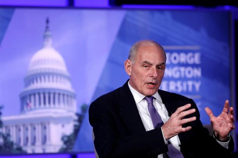 Secretary of Homeland Security John Kelly speaks at an event entitled ''Home and Away: Threats to America and the DHS Response'' at George Washington University in  Washington, D.C., U.S. April 18, 2017.  REUTERS/Aaron P. Bernstein