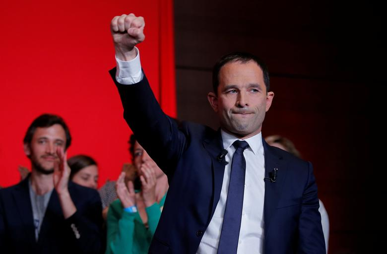 Benoit Hamon, French Socialist party 2017 presidential candidate, delivers a speech at La Mutualite meeting hall in Paris after early results in the first round of 2017 French presidential election, France, April 23, 2017.   REUTERS/Vincent Kessler