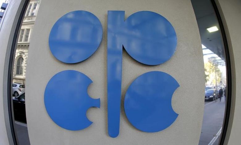 资料图片:2013年11月,奥地利维也纳,OPEC大楼的logo。 REUTERS/Leonhard Foeger