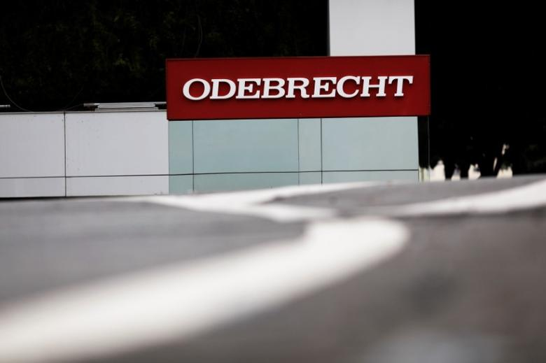 The corporate logo of the Odebrecht SA construction conglomerate is pictured at its headquarters in Sao Paulo, Brazil, April 17, 2017. REUTERS/Nacho Doce