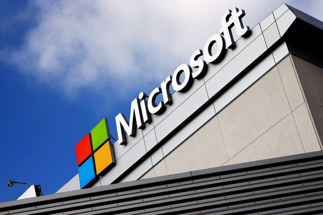 file photo a microsoft logo is seen a day after microsoft corps 262 billion purchase of linkedin corp in los angeles california us june 14 2016