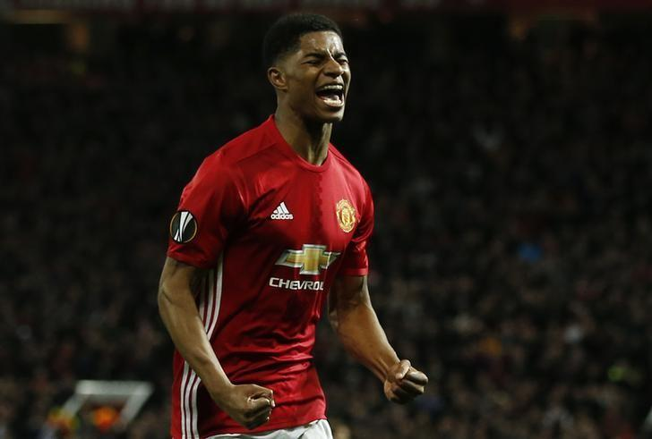 Britain Football Soccer - Manchester United v RSC Anderlecht - UEFA Europa League Quarter Final Second Leg - Old Trafford, Manchester, England - 20/4/17 Manchester United's Marcus Rashford celebrates scoring their second goal  Reuters / Andrew Yates Livepic/Files