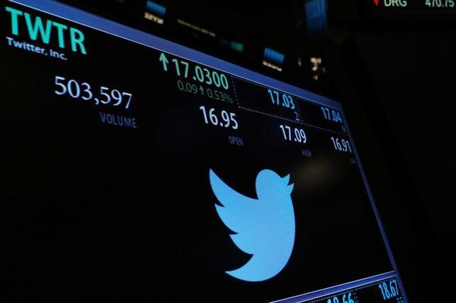 4月26日、米短文投稿サイトのツイッターは、第1・四半期の決算発表後に株価が急伸したが、これは分不相応だ。写真はニューヨーク市で1月撮影(2017年 ロイター/Lucas Jackson)