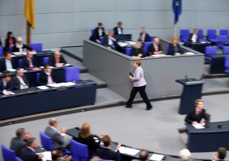 German Chancellor Angela Merkel after her speech at the lower house of parliament Bundestag in Berlin, Germany, April 27, 2017.      REUTERS/Hannibal Hanschke