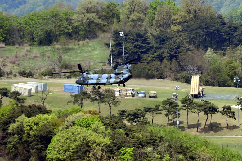 A Terminal High Altitude Area Defense (THAAD) interceptor (R) is seen in Seongju, South Korea, April 26, 2017. Picture taken April 26, 2017. Lee Jong-hyeon/News1 via REUTERS