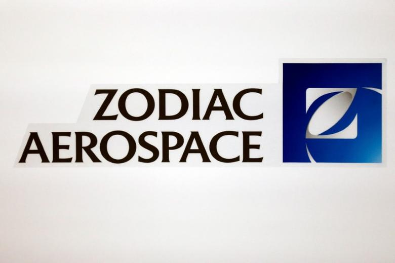 The logo of French aircraft seats and equipment manufacturer Zodiac Aerospace is seen during the company's first half of the 2015/2016 fiscal year presentation in Paris, France, April 20, 2016.  REUTERS/Benoit Tessier - RTX2ARPF