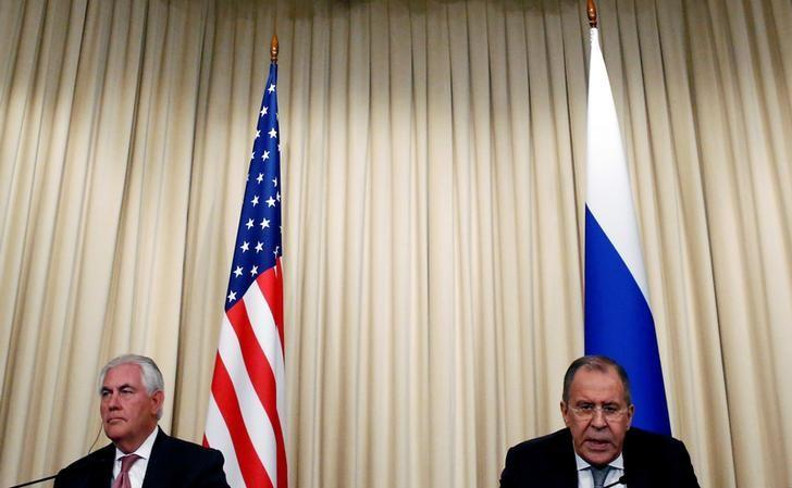 Russian Foreign Minister Sergei Lavrov and U.S. Secretary of State Rex Tillerson attend a news conference following their talks in Moscow, Russia, April 12, 2017. REUTERS/Sergei Karpukhin