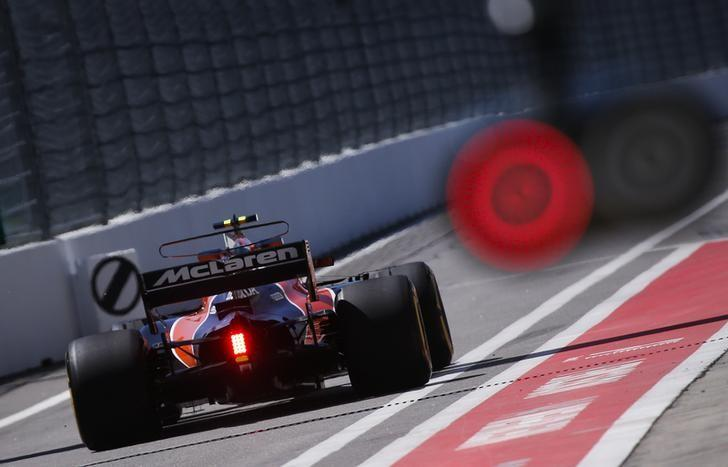 Formula One - F1 - Russian Grand Prix - Sochi, Russia - 28/04/17 - McLaren Honda Formula One driver Stoffel Vandoorne of Belgium drives out of the pit lane. REUTERS/Maxim Shemetov