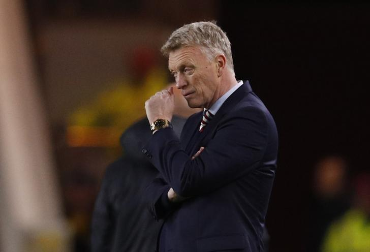 Britain Soccer Football - Middlesbrough v Sunderland - Premier League - The Riverside Stadium - 26/4/17 Sunderland manager David Moyes looks dejected at full time Reuters / Phil Noble Livepic
