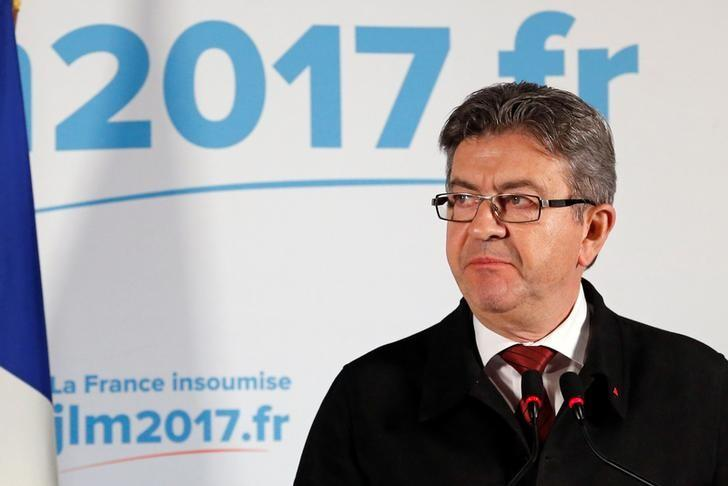 Jean-Luc Melenchon, candidate of the French far-left Parti de Gauche and candidate for the French 2017 presidential election, leaves after speaking to supporters after the first round of 2017 French presidential election in Paris, France, April 23, 2017. REUTERS/Stephane Mahe