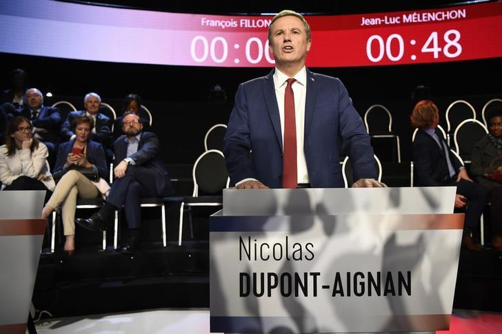 Nicolas Dupont-Aignan of Debout La France group arrives at the television studio where the eleven candidates will attend a prime-time televised debate for the French 2017 presidential election in La Plaine Saint-Denis, near Paris, France, April 4, 2017.   REUTERS/Lionel Bonaventure/Pool/Files