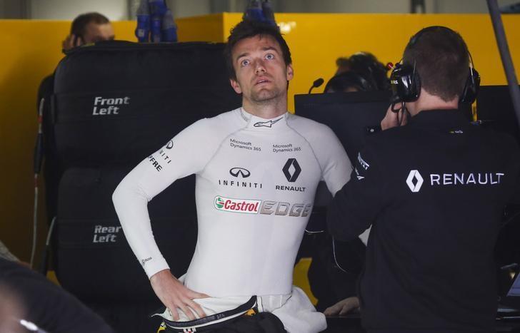 Formula One - F1 - Russian Grand Prix - Sochi, Russia - 28/04/17 - Renault Formula One driver Jolyon Palmer of Britain reacts in the team garage. REUTERS/Maxim Shemetov/Files