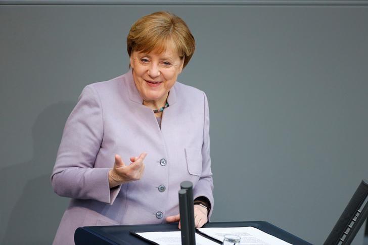 German Chancellor Angela Merkel addresses the lower house of parliament Bundestag in Berlin, Germany, April 27, 2017.      REUTERS/Hannibal Hanschke/Files