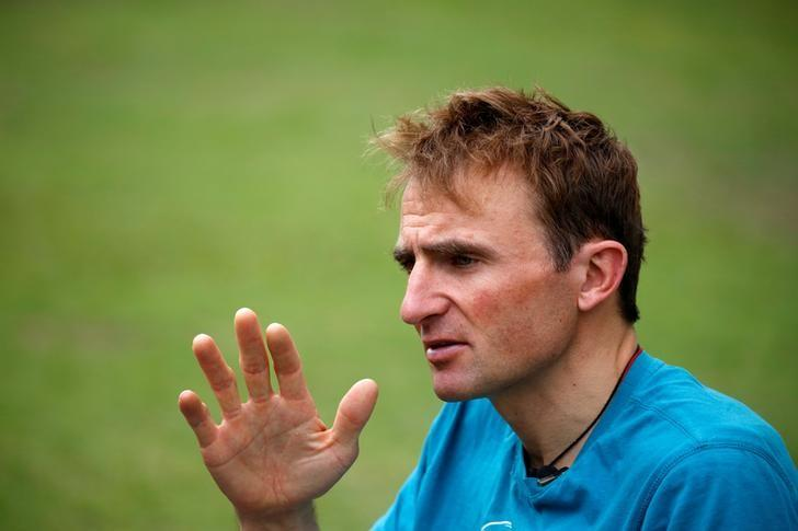 Ueli Steck, a mountaineer from Switzerland, speaks to the media during an interview at a hotel in Kathmandu, Nepal May 30, 2016. REUTERS/Navesh Chitrakar
