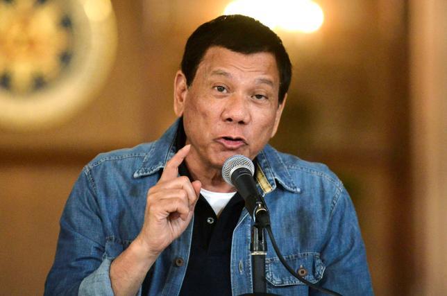 Philippine President Rodrigo Duterte at the Malacanang palace in Manila.    REUTERS/Ezra Acayan