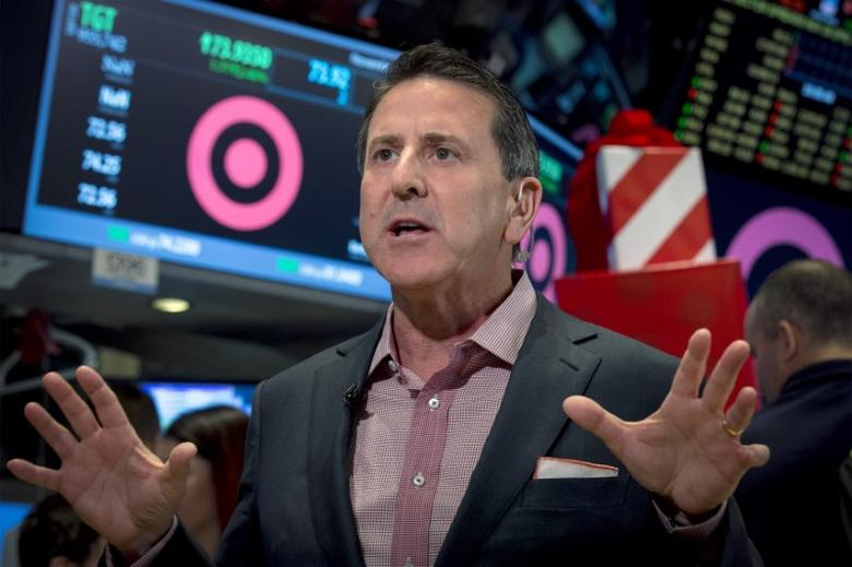 FILE PHOTO: Target Corp. CEO, Brian Cornell speaks during an interview on the floor of the New York Stock Exchange November 28, 2014. REUTERS/Brendan McDermid