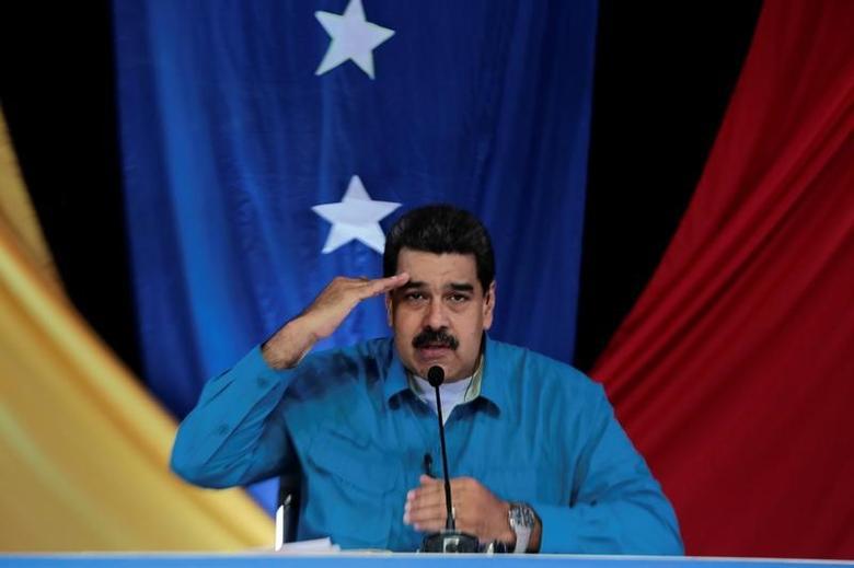 Venezuela's President Nicolas Maduro speaks during his weekly broadcast ''Los Domingos con Maduro'' (The Sundays with Maduro) in Caracas, Venezuela April 30, 2017. Miraflores Palace/Handout via REUTERS