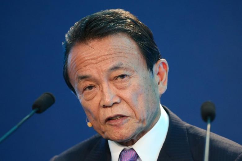 Taro Aso  speaks during the Milken Institute Global Conference in Beverly Hills, California, U.S., May 1, 2017. REUTERS/Lucy Nicholson