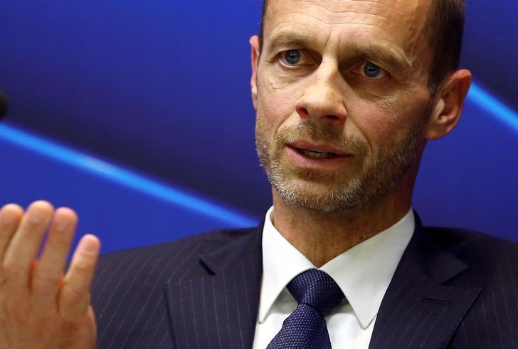 UEFA president Aleksander Ceferin speaks during a news conference in Stara Pazova, Serbia, March 31, 2017. REUTERS/Antonio Bronic/Files