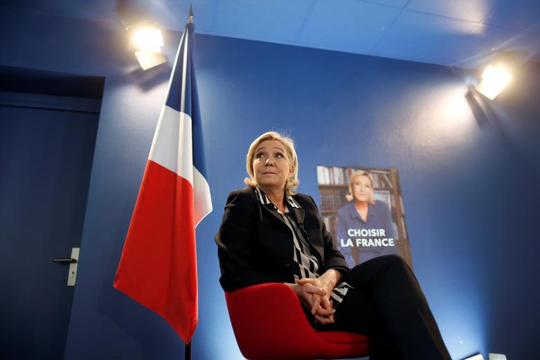 Marine Le Pen, French National Front (FN) candidate for 2017 presidential election, speaks during an interview with Reuters in Paris, France, May 2, 2017. REUTERS/Charles Platiau